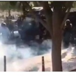 Iranian security forces firing tear gas to disperse a protest in the city of Bushehr, Bushehr province, south-west Iran, on 16 November 2019. Verified video footage from this protest showed that security forces used excessive force against peaceful protesters. © Private